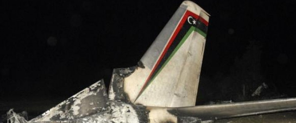 The wreckage of a Libyan military plane is seen in Grombalia